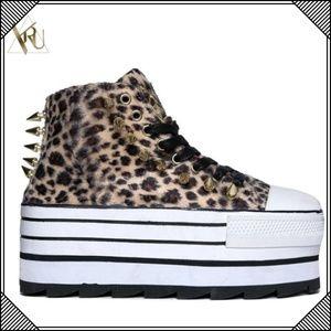 * Leopard Platform Studded Spike Sneakers * Shoes